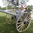 Jim Tapken and Walter Borkowski, members of Willman-Fee Post #14 of the American Legion, stand next to the newly-restored cannon. Photo by Duke Wenzel, True Dakotan.