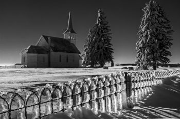 Zoar Lutheran Church after ice and snowstorm in rural Day County.