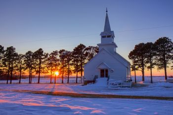 Winter sunset at Salem Lutheran in rural Hutchinson County.