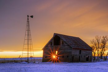 Winter sunset in rural McCook County.