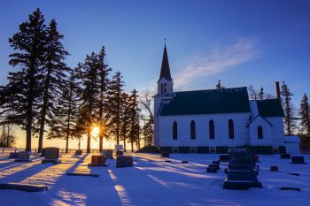 Wood Lake Lutheran Church of rural Deuel County at sunset.