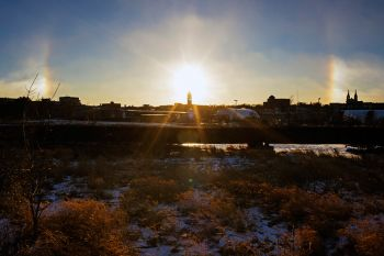 Sundogs over Sioux Falls from Falls Park.