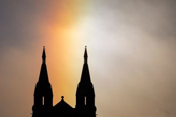 Close up of a sundog rainbow over St. Joseph's Cathedral in Sioux Falls.