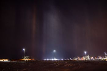 Light pillars toward the western edge of Sioux Falls.