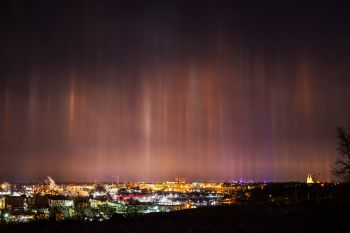 Light pillars above central Sioux Falls.