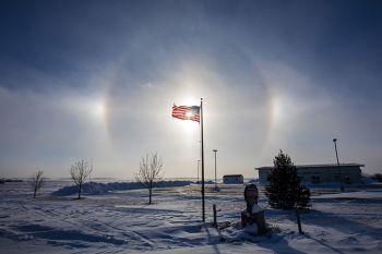 "Sun dog at the Crooks Community Center, or ""land of the free(zing) and home of the brave."""