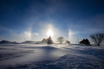 West Nidaros Lutheran with sun dogs.