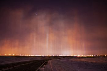 Light pillars above Sioux Falls.