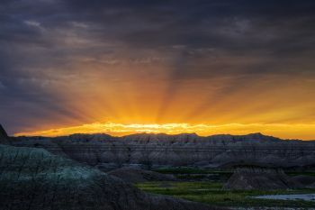Sunrise from the Conata Basin Road in the Badlands.