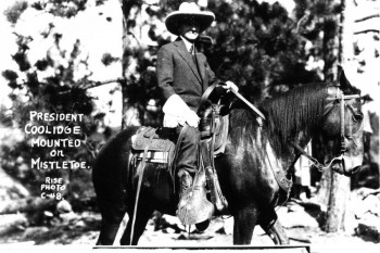 President Coolidge riding 'Mistletoe' in Custer State Park.