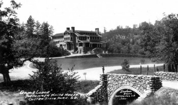 A photo of the State Game Lodge taken the same summer the Coolidges vacationed at the park.