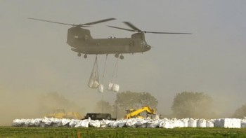 Black Hawk helicopters dropped one-ton sandbags in place at Dakota Dunes in early June. These CH-47 Chinook helicopters could carry multiple one-ton sandbags.