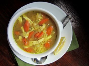 A slightly thickened soup with shredded chicken and spicy flavor. Photo by Fran Hill.