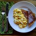 Pasques are pretty, but chives add more to these scrambled eggs.