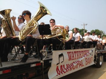 Watertown's municipal band performs patriotic tunes.