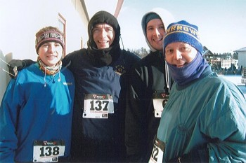 Four of the hardy folks who braved -28 degree wind chill to run in Watertown's 2010 Turkey Day 5K.
