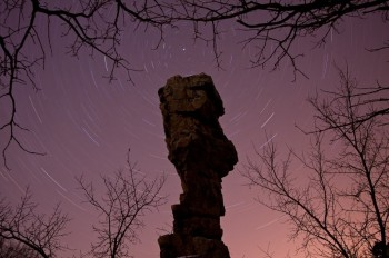 The north star over the balancing rock formation in Palisades State Park.