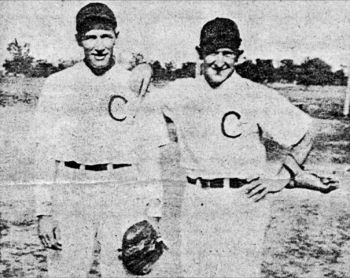 Claremont's 1938 championship team was led by Clayton Feser (right) and Bill Prunty, who hit a towering home run into the black of night.