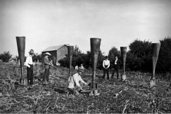 Some farmers were willing to try anything to break out of severe drought, including a system of funnels designed by William F. Wright. Smoke particles blown into the atmosphere through the funnels were said to produce rain.