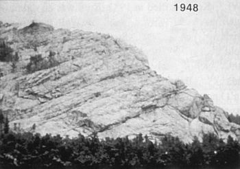 Thunderhead Mountain in 1948, before carving began.