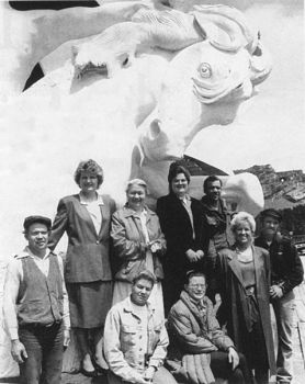 The Ziolkowski family continues to work together on the mountain carving. Standing, left to right, are Adam, Jadwiga, Ruth, Anne, Casimir, Marinka and Mark. Seated, from left, are Monique and Dawn.