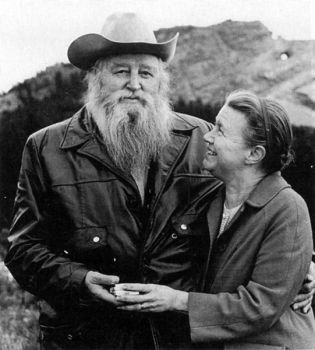 Korczak and Ruth Ziolkowski stand together in front of Thunderhead Mountain north of Custer.
