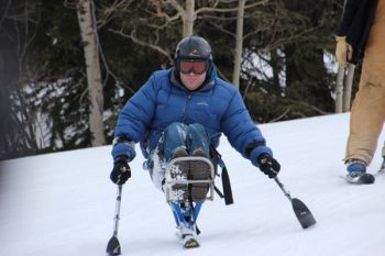 Eric Vetter, Aberdeen, downhill skis on special adaptive equipment at Black Hills Ski for Light 2013.