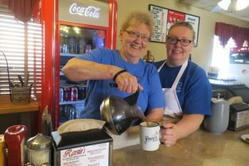 Rosie Warner (left) and her daughter, Beckie Mettler, at Rosie's Cafe in Sioux Falls.
