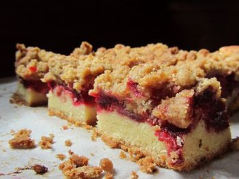 Strawberry rhubarb crumble bars will be the reward after a battle against garter snakes.