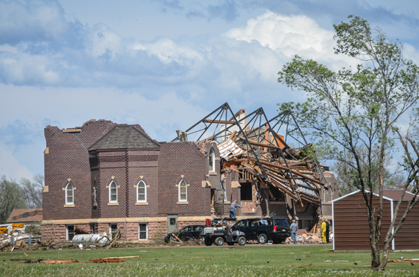 <a href='http://www.saraliberte.com/' target='_blank'>Sarah Liberte</a> took this photo of the Zion Lutheran Church, destroyed by the Mother's Day tornado.