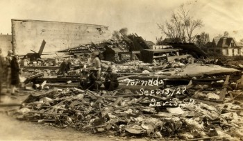 A 1928 tornado wreaked havoc on the town of Davis. Click to enlarge photo.