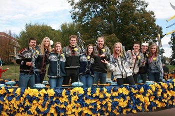 The homecoming court at Augustana University in Sioux Falls dons Norwegian sweaters to celebrate Viking Days. Photo courtesy Augustana University.