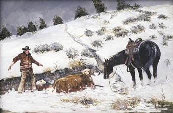 His paintings depict all aspects of cowboy life in every kind of weather.